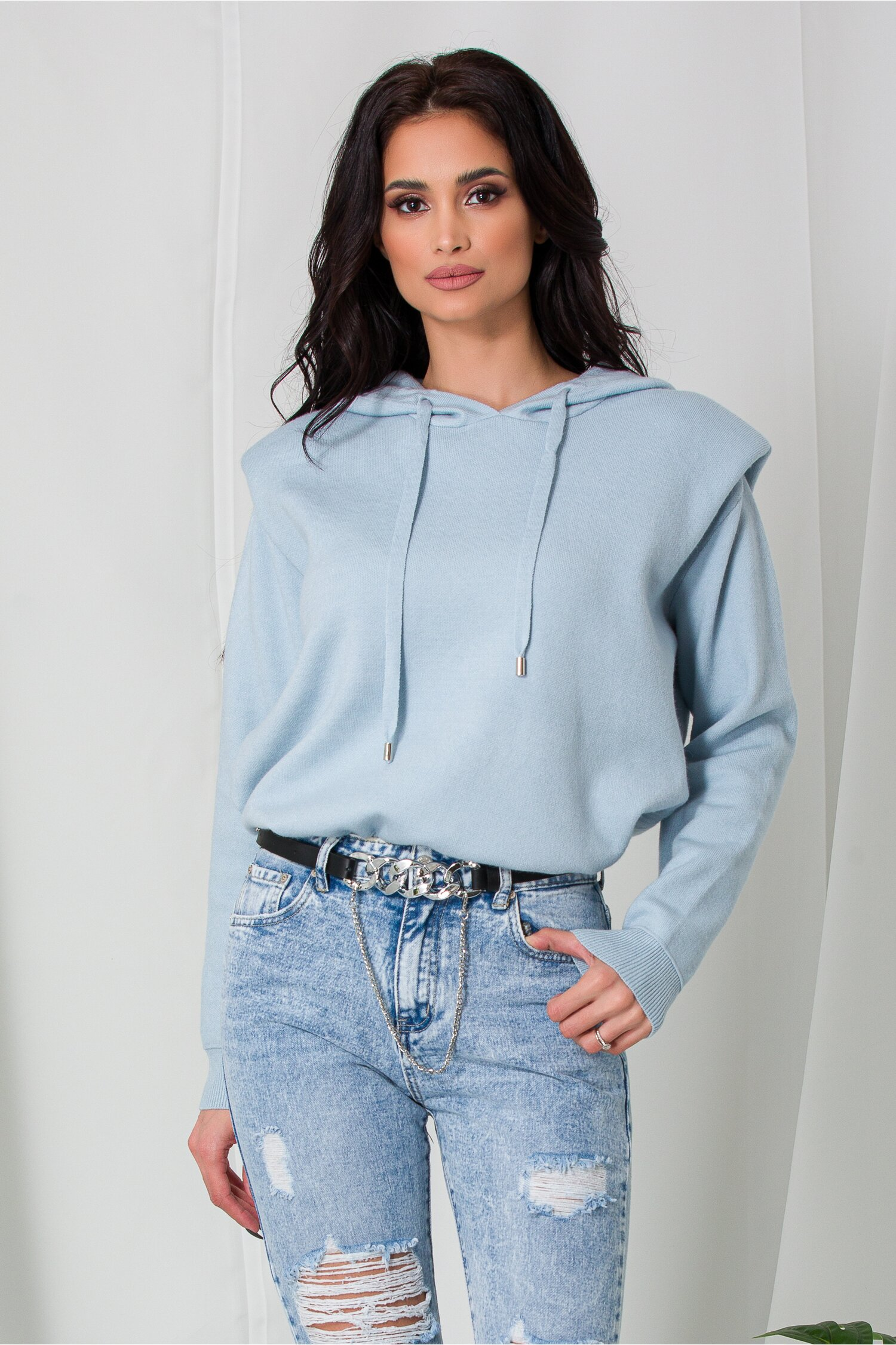 Hanorac Mara bleu din tricot