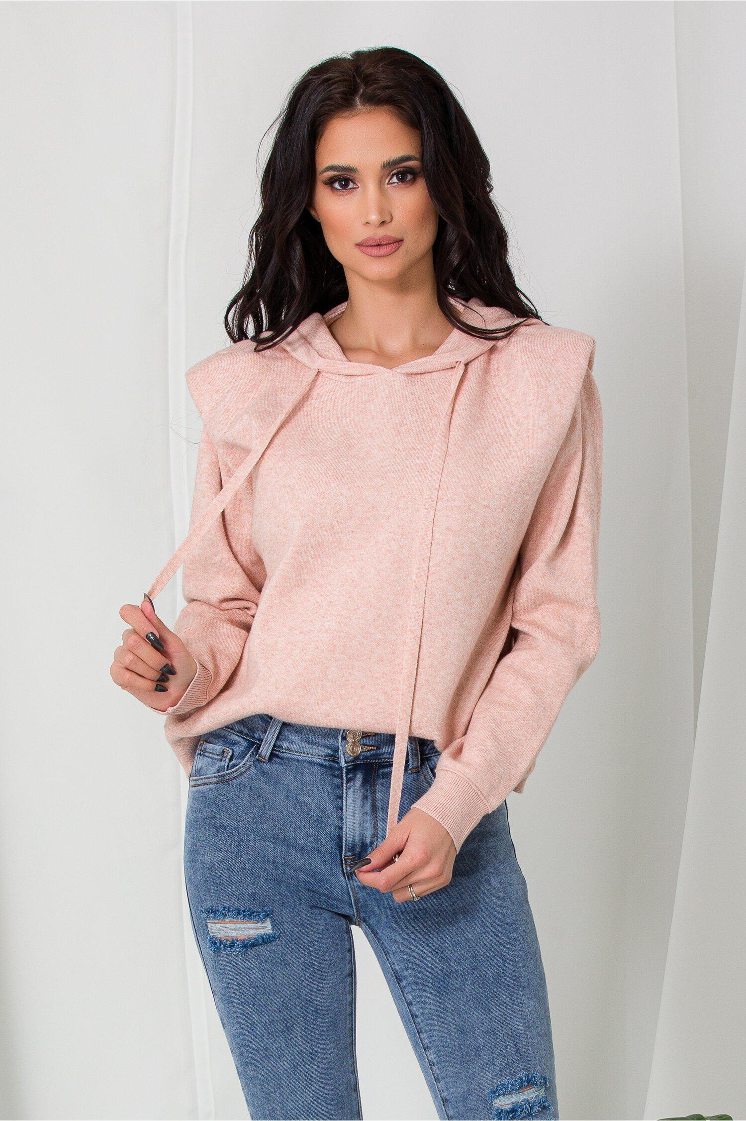 Hanorac Mara roz pudrat din tricot