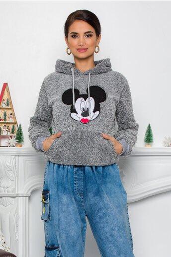 Hanorac Mickey Mouse gri cu gluga si buzunar maxi