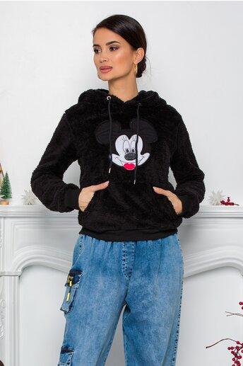 Hanorac Mickey Mouse negru cu gluga si buzunar maxi