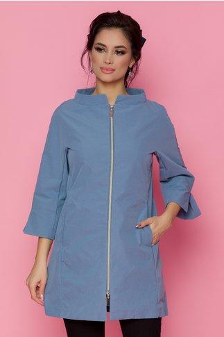Jacheta Alina albastra cu guler tip tunica