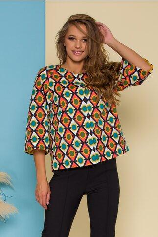 Jacheta cu imprimeuri geometrice multicolore