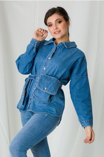Jacheta din denim albastra cu borseta