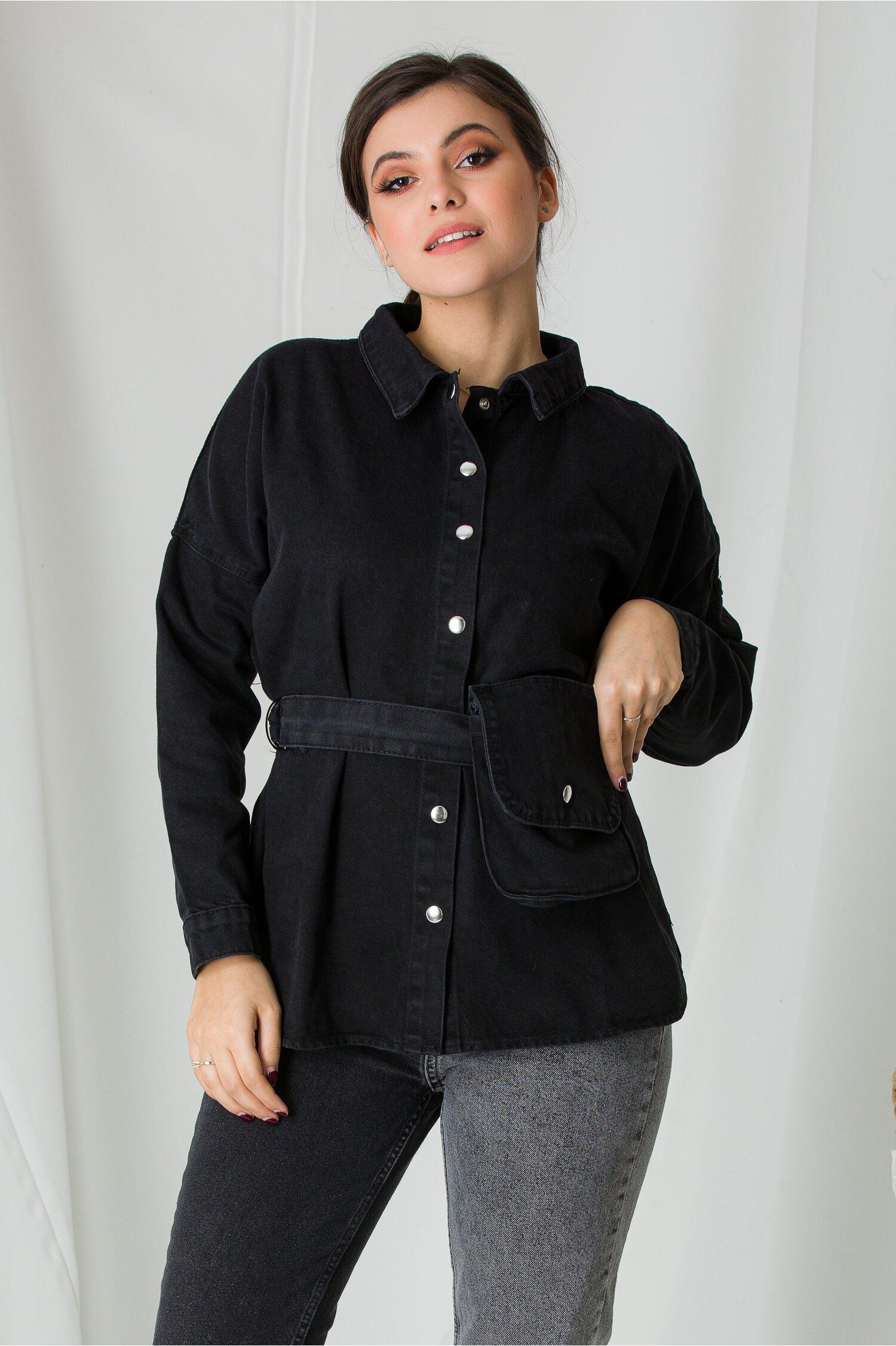 Jacheta din denim neagra cu borseta