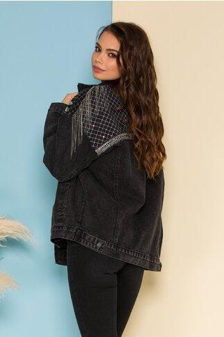 Jacheta din denim neagra cu paiete si franjuri