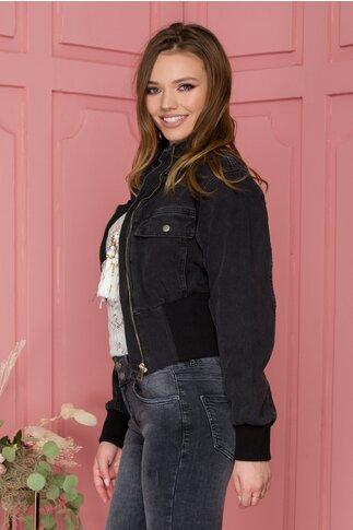 Jacheta din denim negru cu aspect prespalat