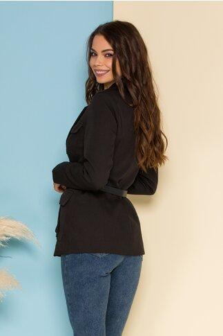 Jacheta Dora neagra cu buzunare si accesoriu