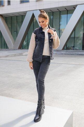 Jacheta Doris neagra din denim cu maneci din tricot pufos