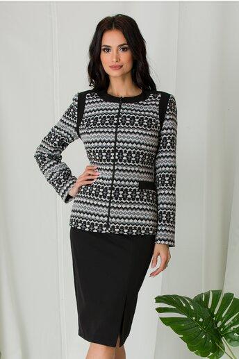 Jacheta eleganta cu imprimeuri in nuante de alb-negru