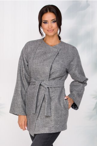 Jacheta Ginette eleganta gri cu fermoar decorativ