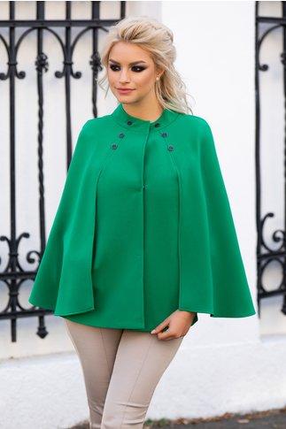 Jacheta Ginette verde cu maneci tip capa