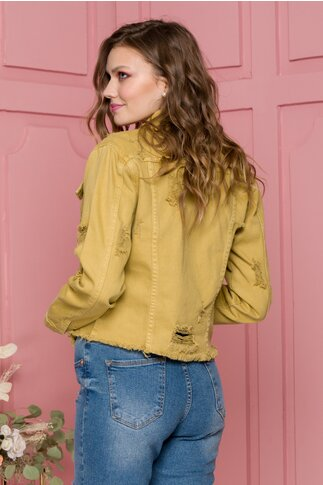 Jacheta Ingrid galben mustar din denim cu aspect uzat
