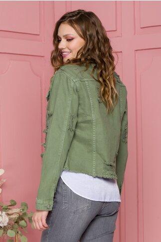 Jacheta Ingrid kaki din denim cu aspect uzat