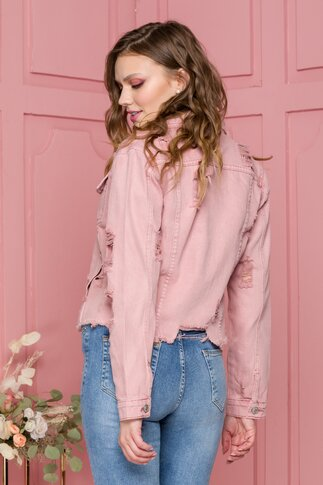 Jacheta Ingrid roz prafuit din denim cu aspect uzat