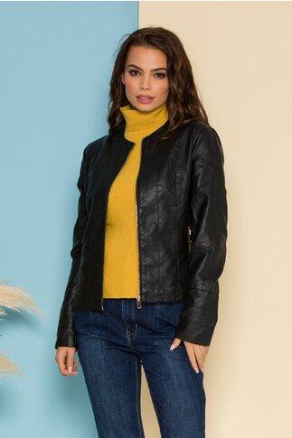Jacheta Jenny neagra din piele ecologica inchisa cu fermoar in fata
