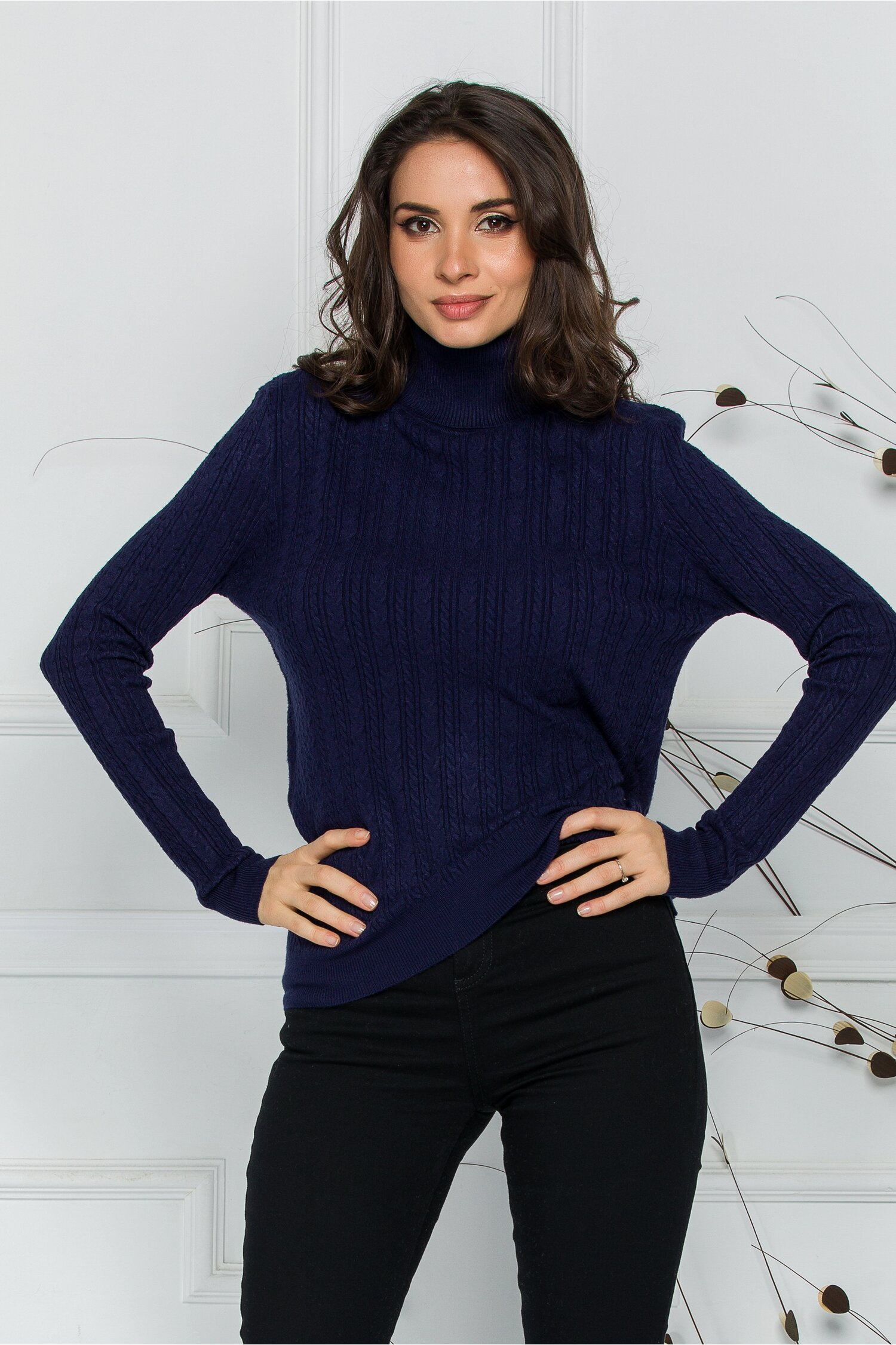 Maleta Adelina bleumarin cu model in relief