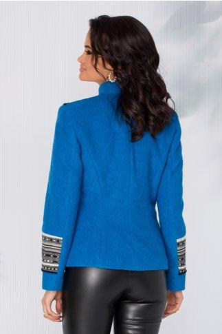 Palton Denisa albastru scurt cu motive traditionale