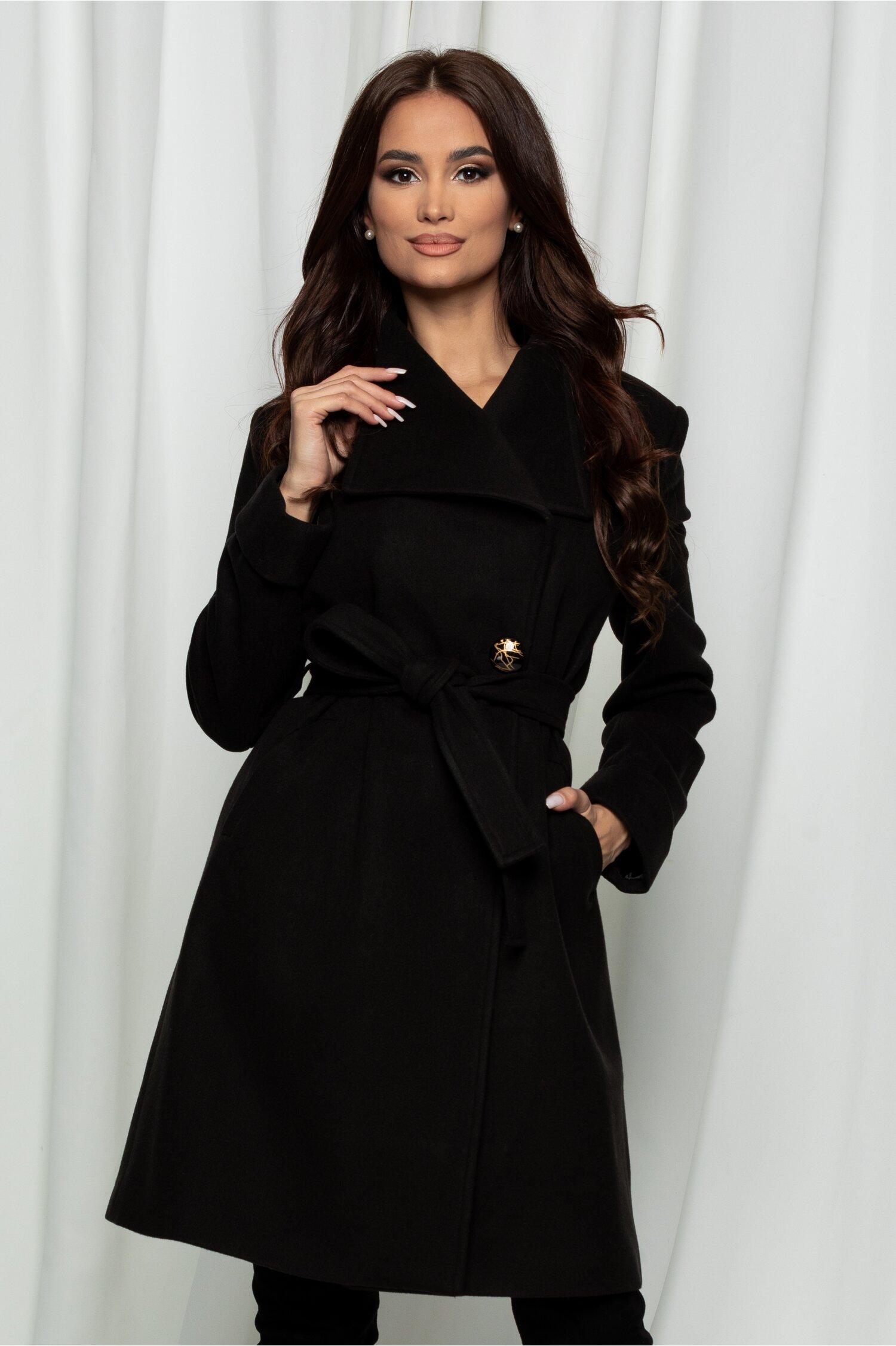 Palton Dora negru cu cordon in talie