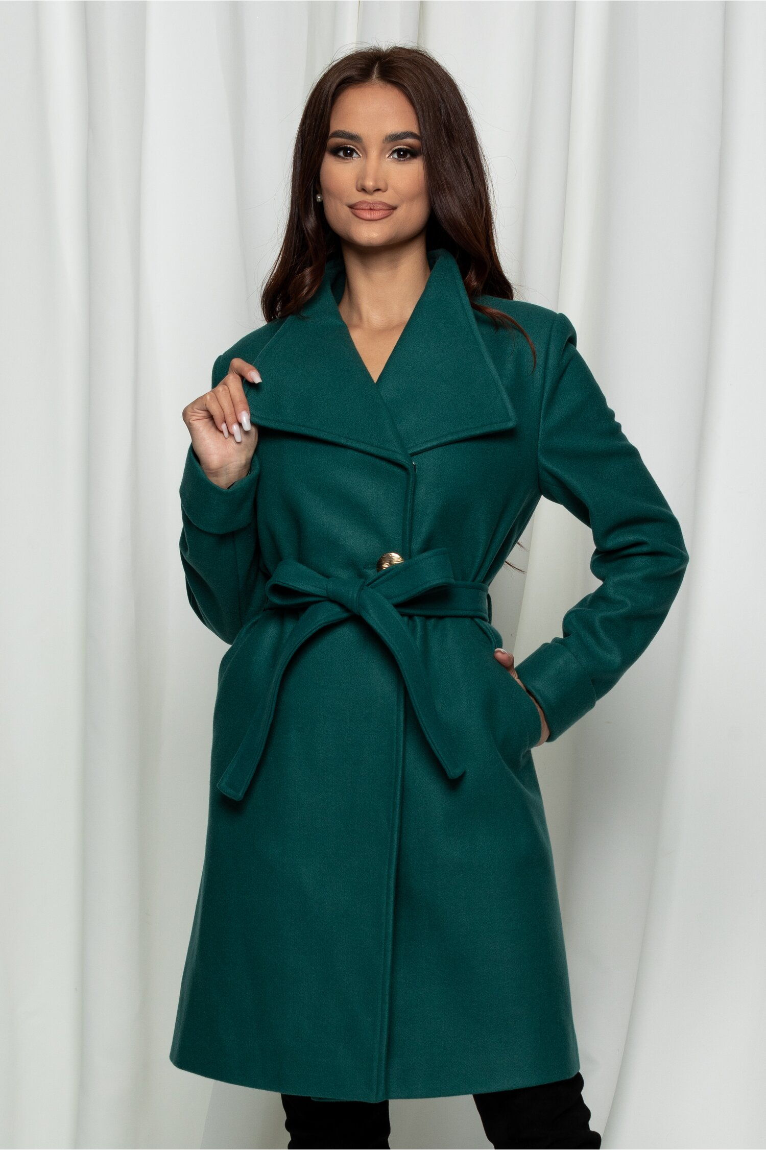 Palton Dora verde cu cordon in talie