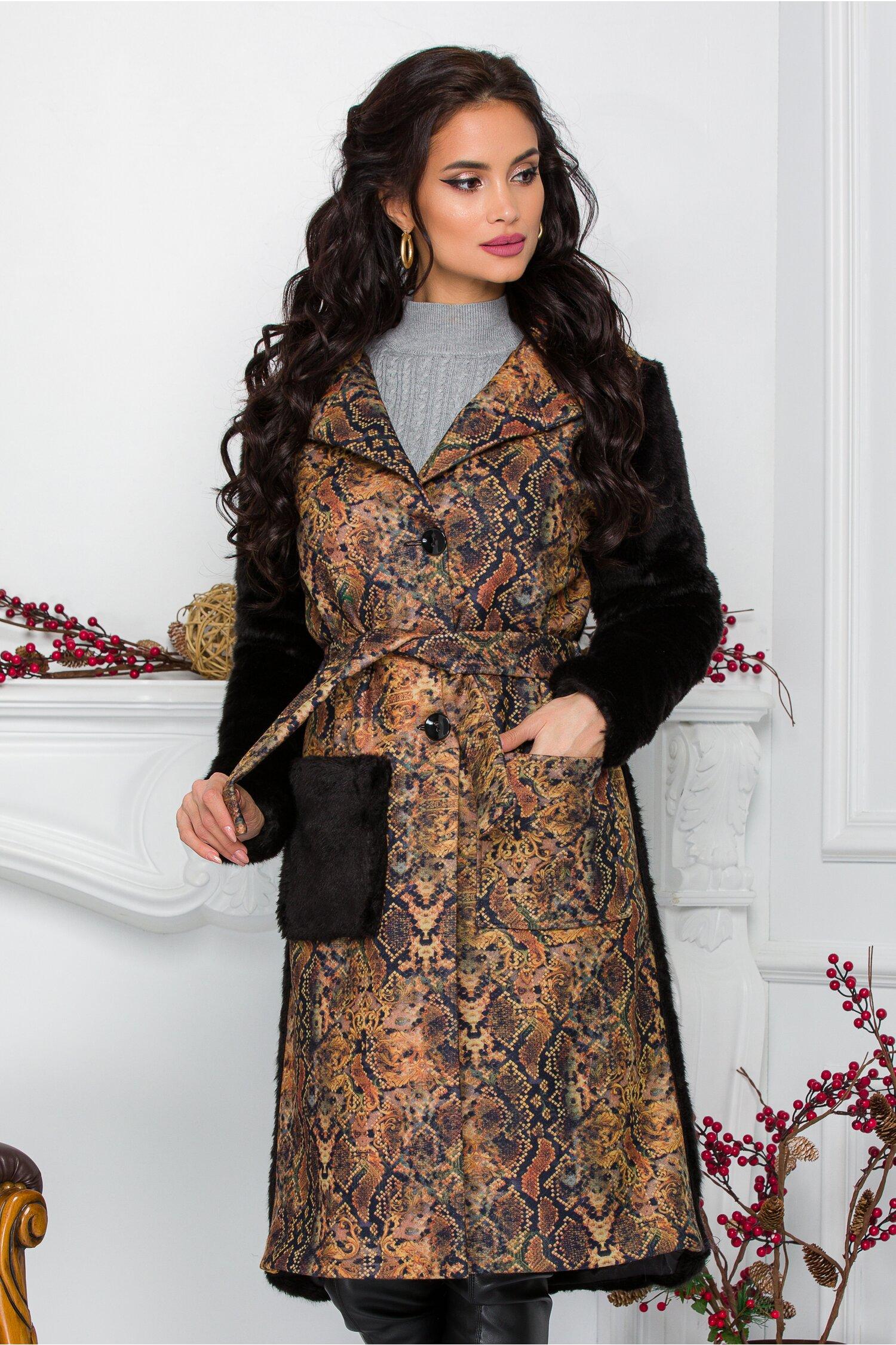 Palton Ella Collection Aleksa cu imprimeu vintage si blana ecologica