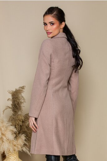 Palton Ella Collection bej cu rever crestat