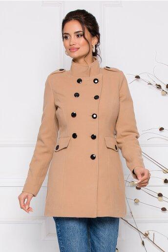 Palton Ella Collection Carla bej cu buzunare
