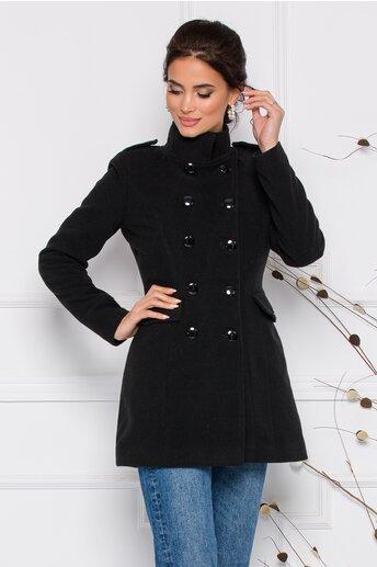 Palton Ella Collection Carla negru cu buzunare