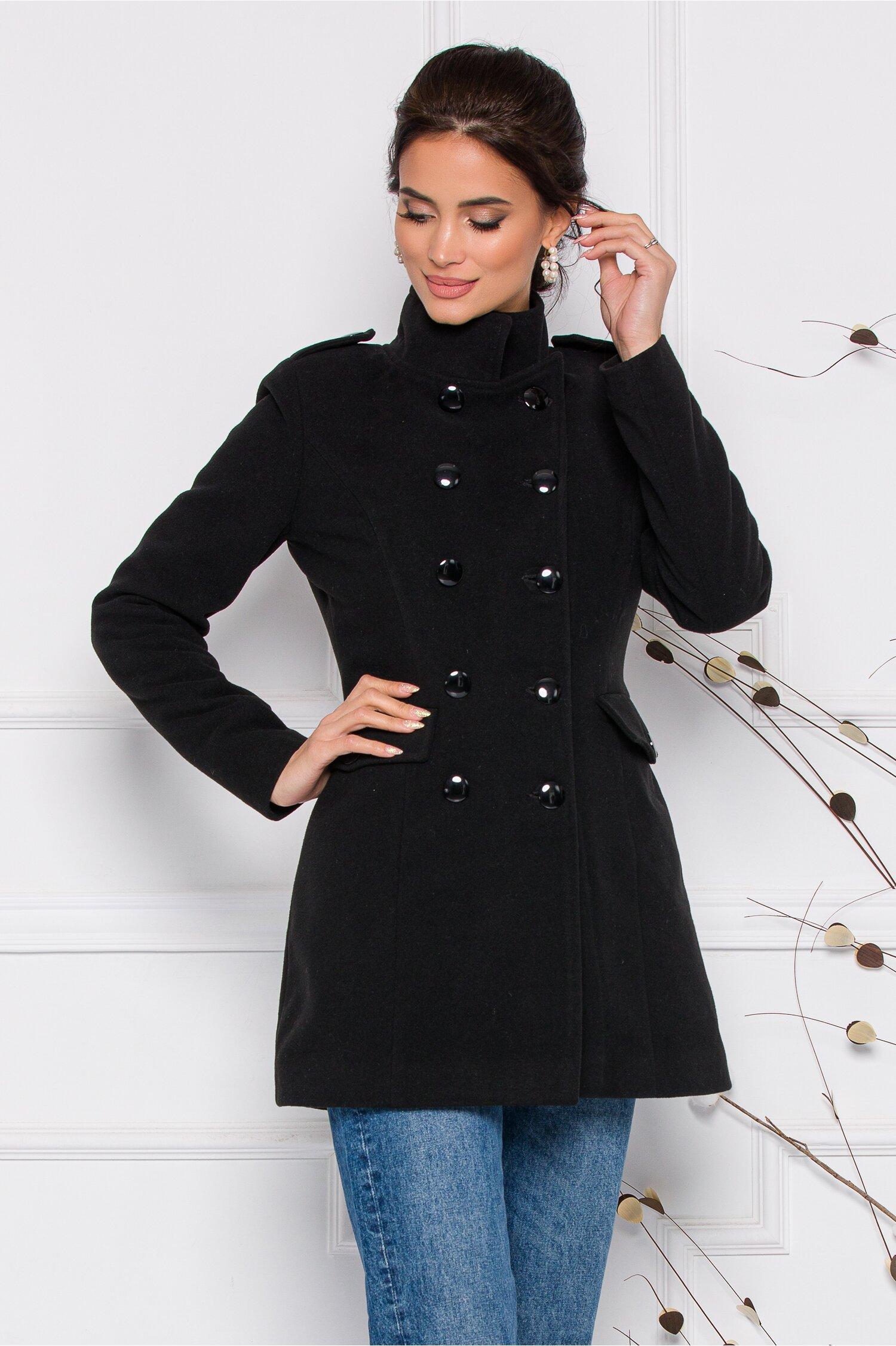 Palton Ella Collection Carla negru cu buzunare imagine