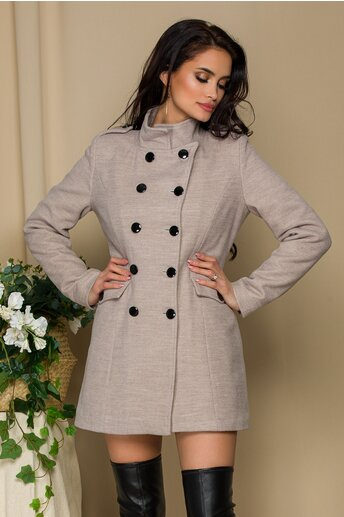Palton Ella Collection Carla taupe cu buzunare