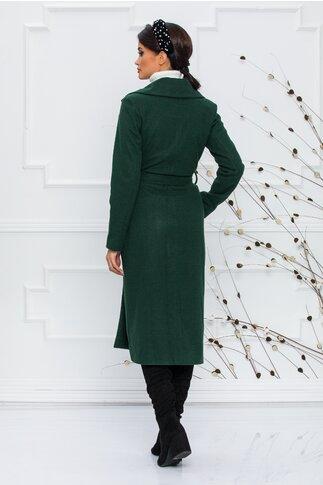 Palton Ella Collection Christina verde cu rever si cordon in talie