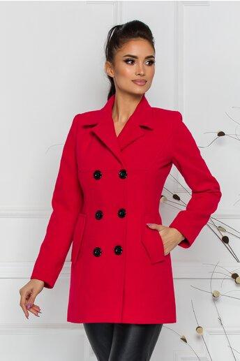 Palton Ella Collection Natalia rosu cu buzunare
