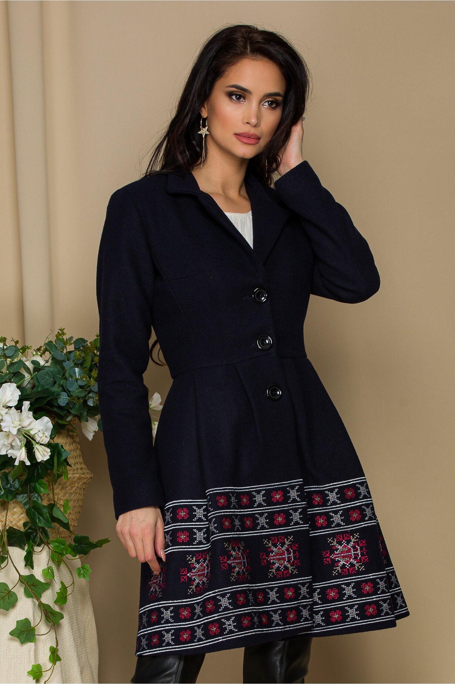 Palton Ella Collection Sonia bleumarin cu broderie traditionala rosie cu gri