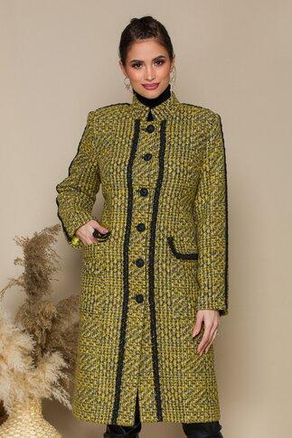 Palton LaDonna galben cu imprimeu pixelat