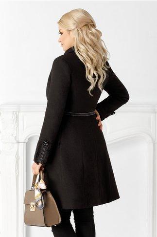 Palton LaDonna negru cu broderie la bust