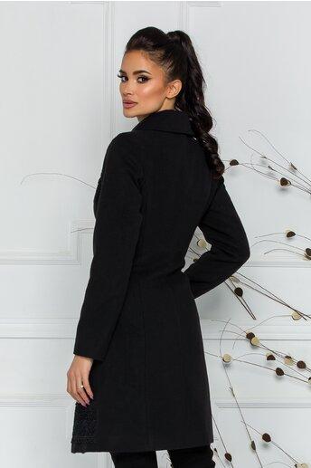Palton LaDonna negru cu broderie neagra