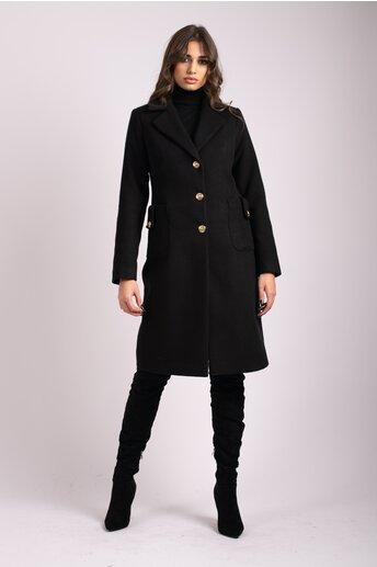 Palton LaDonna negru cu buzunare maxi