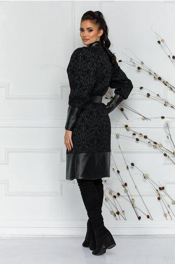 Palton LaDonna negru cu insertii din piele ecologica si broderie florala