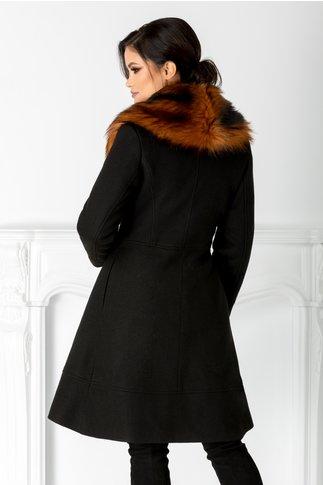 Palton LaDonna negru evazat cu blanita