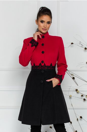 Palton LaDonna rosu cu broderie in talie si la baza manecilor