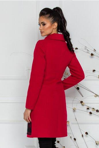 Palton LaDonna rosu cu broderie neagra