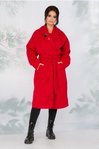 Palton LaDonna rosu lejer cu cordon in talie detasabil