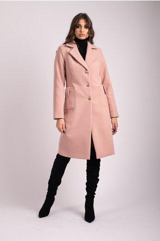Palton LaDonna roz cu buzunare maxi