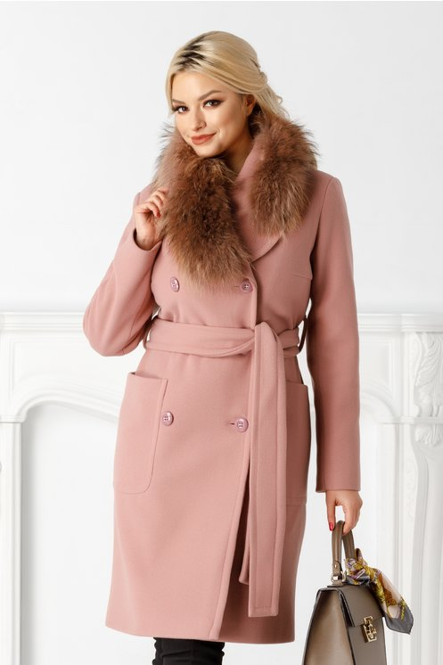 Palton LaDonna roz cu rever accesorizat cu blanita naturala