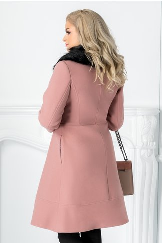Palton LaDonna roz evazat cu blanita