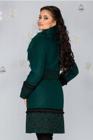 Palton LaDonna verde cu broderie la baza si maneci si guler detasabil