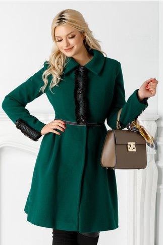 Palton LaDonna verde cu broderie la bust