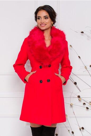 Palton MBG rosu cu blanita la guler