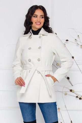Palton Moze alb cu buzunare si cordon in talie