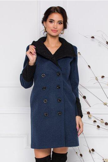 Palton Moze albastru marin cu blanita neagra