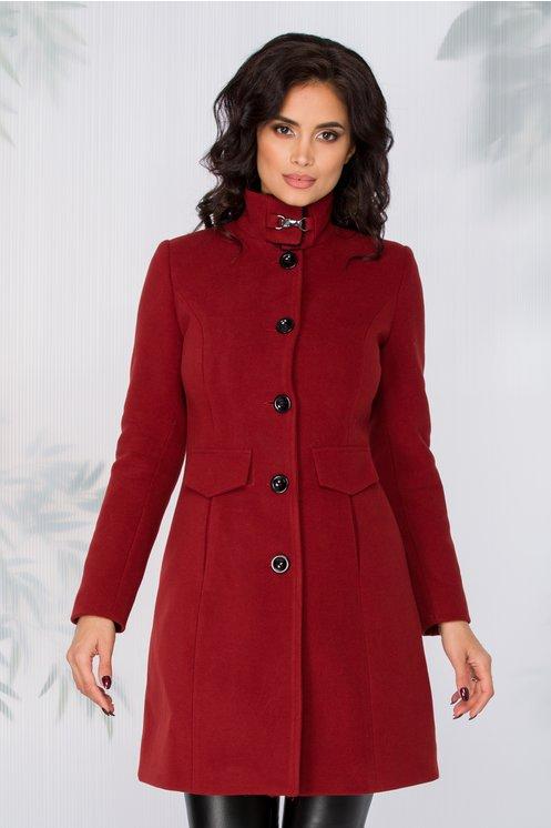 Palton Moze bordo cu blanita la guler
